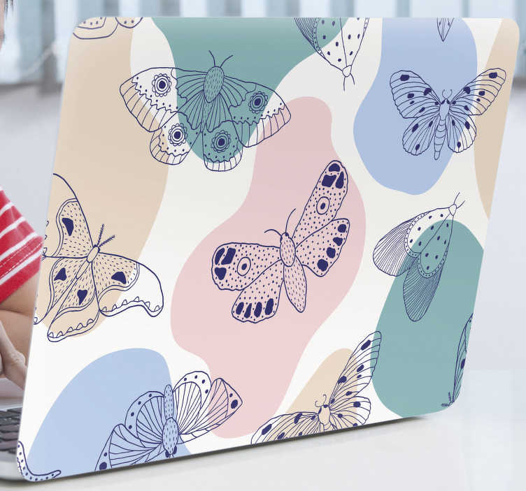 TenStickers. Abstract pattern and butterflies laptop skin. Decorative laptop vinyl sticker with multi coloured butterflies and abstract backgroundin colours. Buy it in the size that fits your laptop.