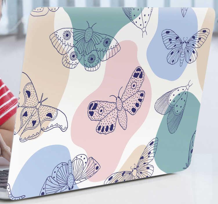 TenVinilo. Vinilo laptop abstracto de mariposas . Vinilo decorativo para portátil con mariposas multicolores y fondo abstracto en colores. Cómprelo en el tamaño que se adapte a su computadora portátil