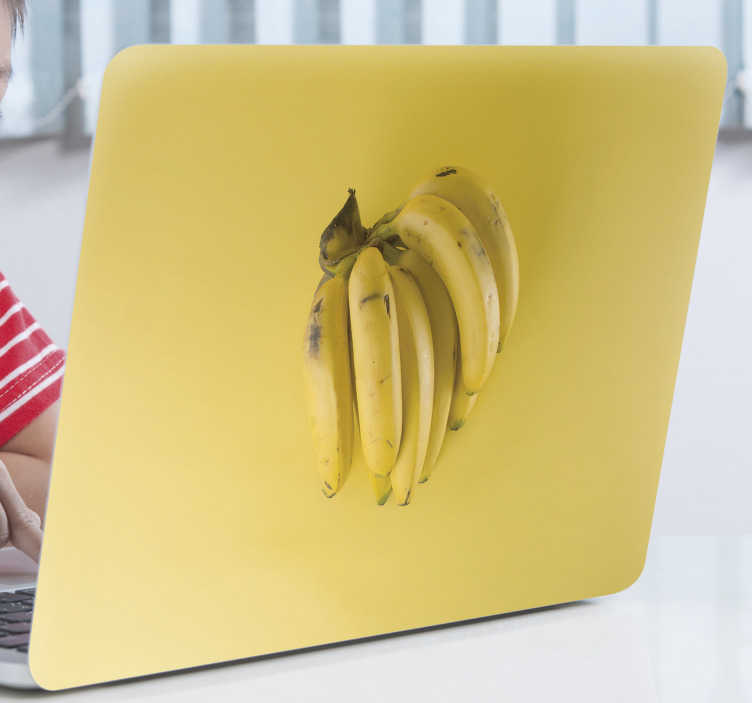 TenStickers. Banana lovers laptop skin. A beautiful laptop skin sticker with the design of banana in real appearance . Choose the size preferable for the design.