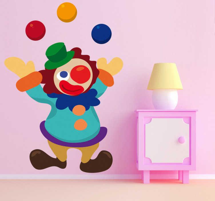 TenStickers. Sticker enfant clown jonglant. Super stickers décoratif illustrant un clown jonglant avec 3 balles. Idéal pour apporter de la gaieté aux espaces de jeux des enfants. Idée déco originale pour la chambre d'enfant.