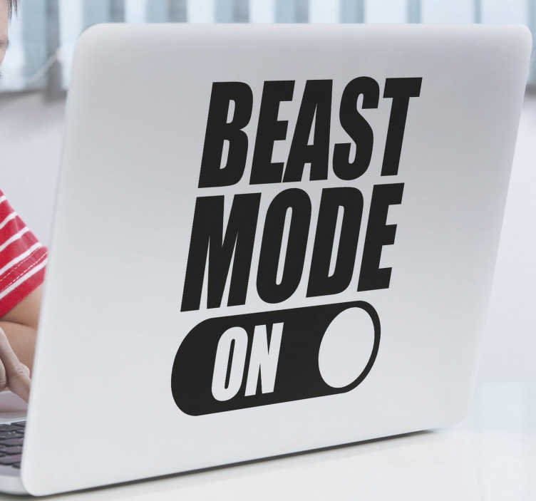 TenStickers. Beast Mode ON laptop skin. Decorative laptop sticker with the text decoration of  best mode on'' with an activation button symbol . Choose the size preferable.