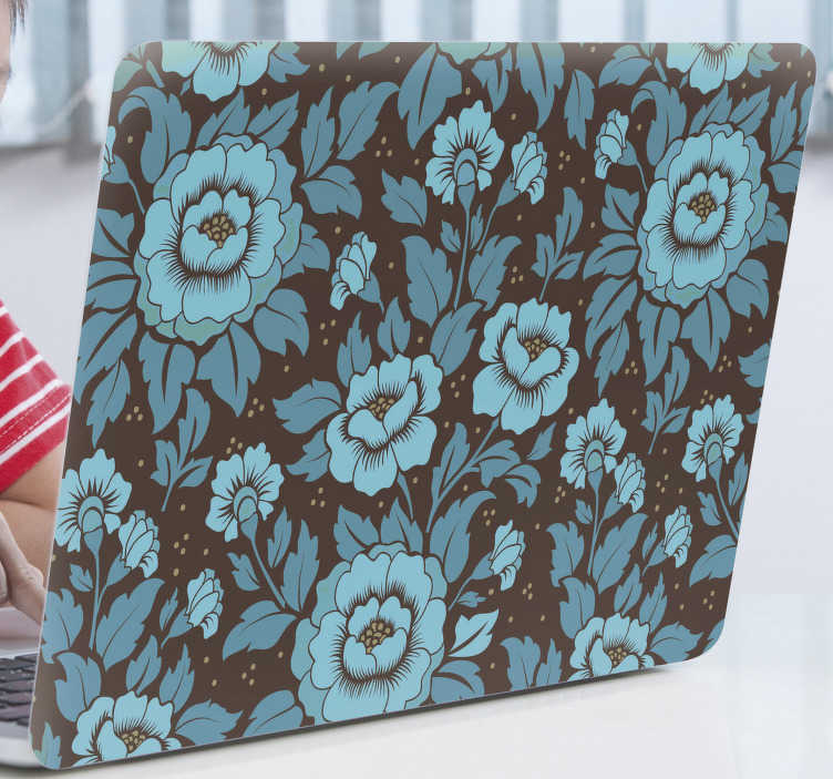 TenStickers. Blue floral pattern laptop skin. Decorative and easy to apply laptop vinyl sticker with the design of flower pattern in blue tone background. Choose the size that matches the surface.