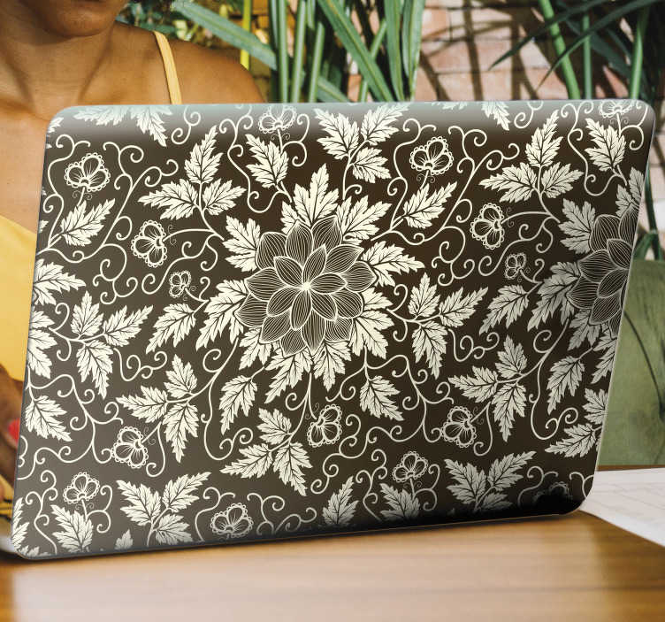TenStickers. Elegant floral ornament laptop skin decal. Full wrap laptop vinyl sticker to decorate with the design of an elegant ornamental floral. Buy it in the dimension that correspond with your device.