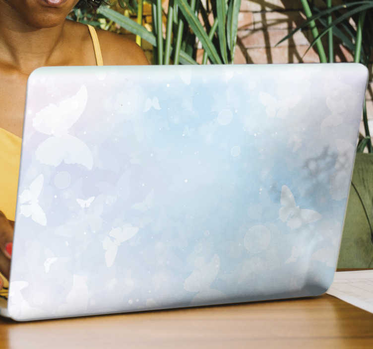 TenStickers. Fantasy butterflies laptop skin. Decorate the surface of the laptop with this amazing fantasy butterflies laptop vinyl decal.Easy to apply on a flat surface.