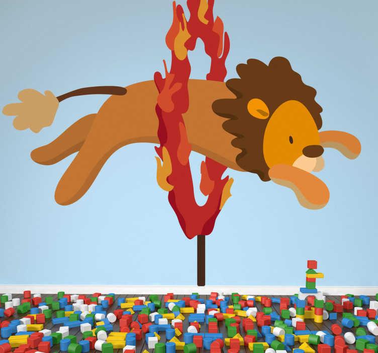 Muursticker kind circus leeuw hoepel