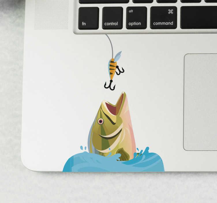 TenStickers. Zelfklevende laptopsticker met vis. Decoratieve laptop zelfklevende sticker met het ontwerp van een vis van een computer om op het werkgebied van het apparaat te plaatsen. Koop het in de maat die de voorkeur heeft.