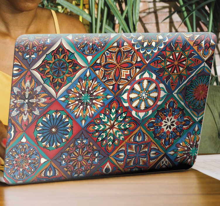 TenStickers. Floral tile pattern laptop skin decal. Buy our decorative vinyl laptop sticker with the design of floral tiles in multi coloured style to wrap a laptop. Select a suitable size.
