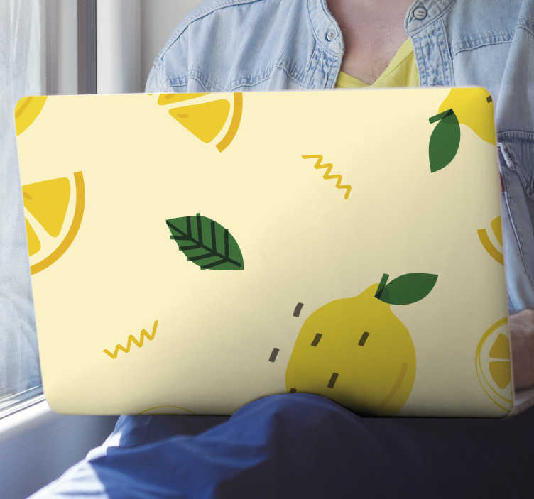TenStickers. Lemons memphis style laptop skin. Decorative vinyl laptop sticker with the design of lemons in Memphis style. Buy it in the size recommendable to cover your laptop.