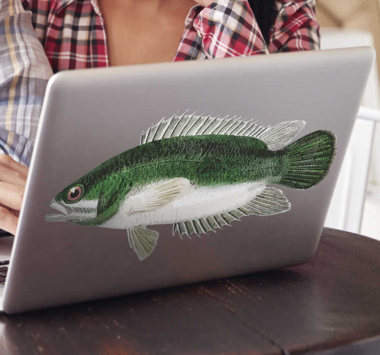 TenStickers. Perch laptop skin. Decorative vinyl laptop sticker with the design of a perch fish. Buy it in any customisable size that matches perfectly to a desired surface.