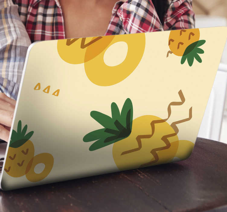TenStickers. Pineapple memphis style laptop skin. A pineapple Memphis style laptop sticker decoration for all laptop. Recommended to wrap the whole surface of a laptop. Buy it in the preferred size.