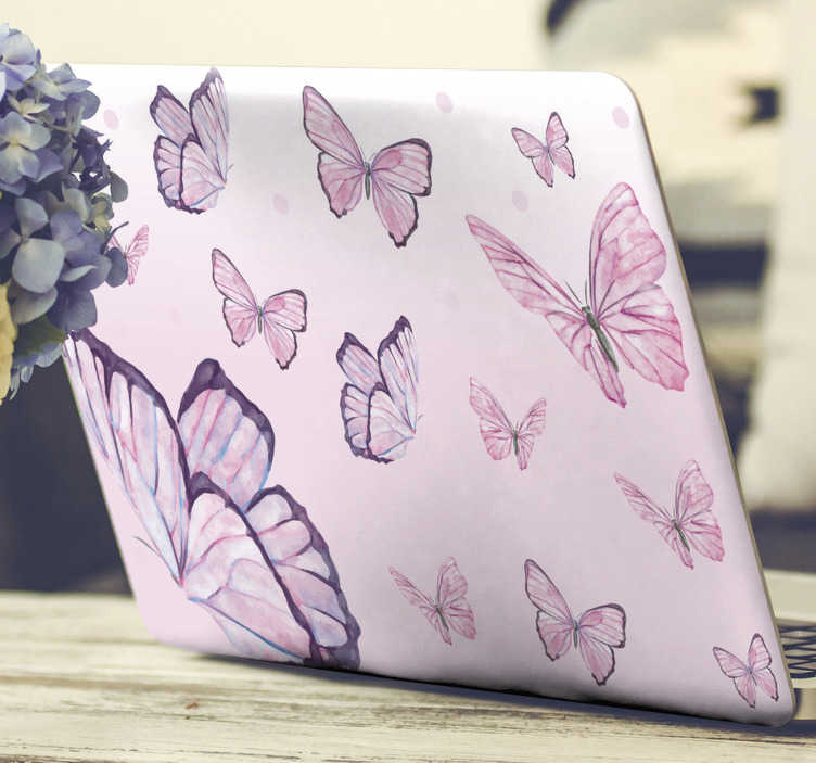 TenStickers. Purple butterflies laptop skin. Beautiful decorative laptop skin sticker with the design of purple butterflies to wrap the whole surface. Choose the size that is a perfect dimension.