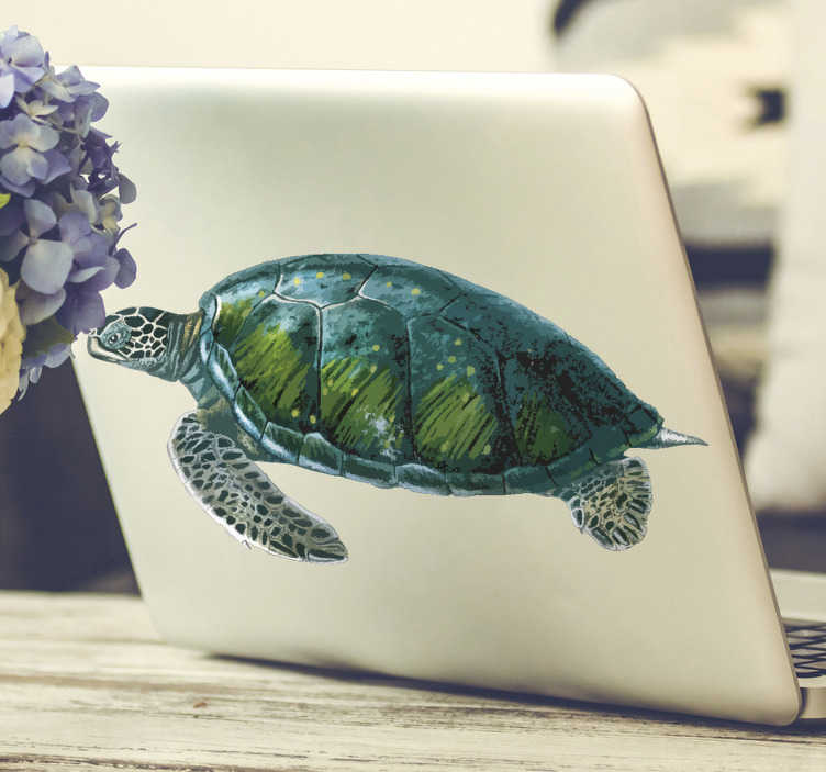 TenStickers. Realistic turtle laptop skin. Colorful turtle laptop sticker with a real visual appearance to decorate a laptop . Available in any size of desire. Easy to apply.