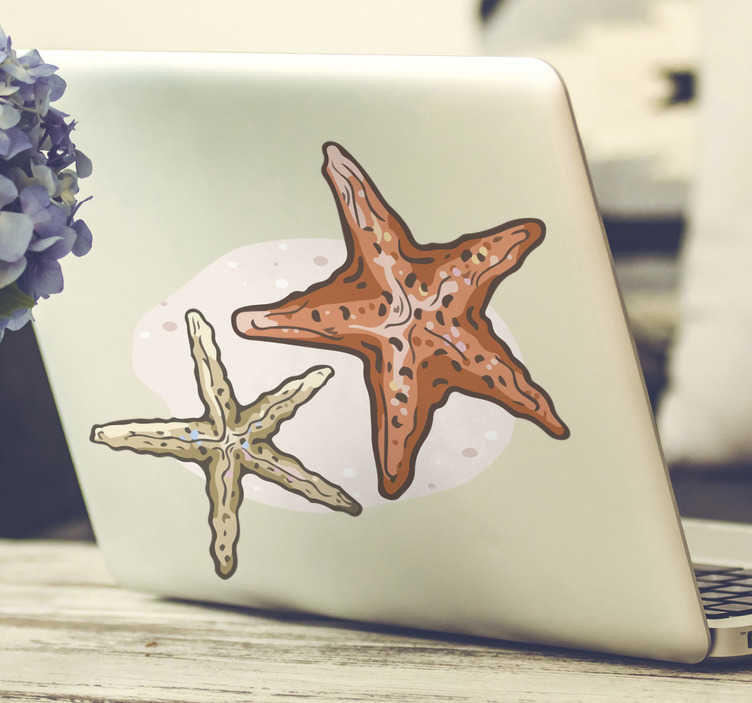 TenStickers. Sea star laptop skin. Decorative laptop vinyl sticker with the design of sea star fishes in amazing colours. Buy it in the preferable size for you.