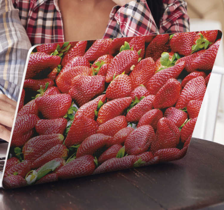 TenStickers. Strawberries field laptop skin decal. Decorative strawberries laptop skin sticker that has a full pack of strawberries field. Buy it in the size the matches  any laptop to wrap it.