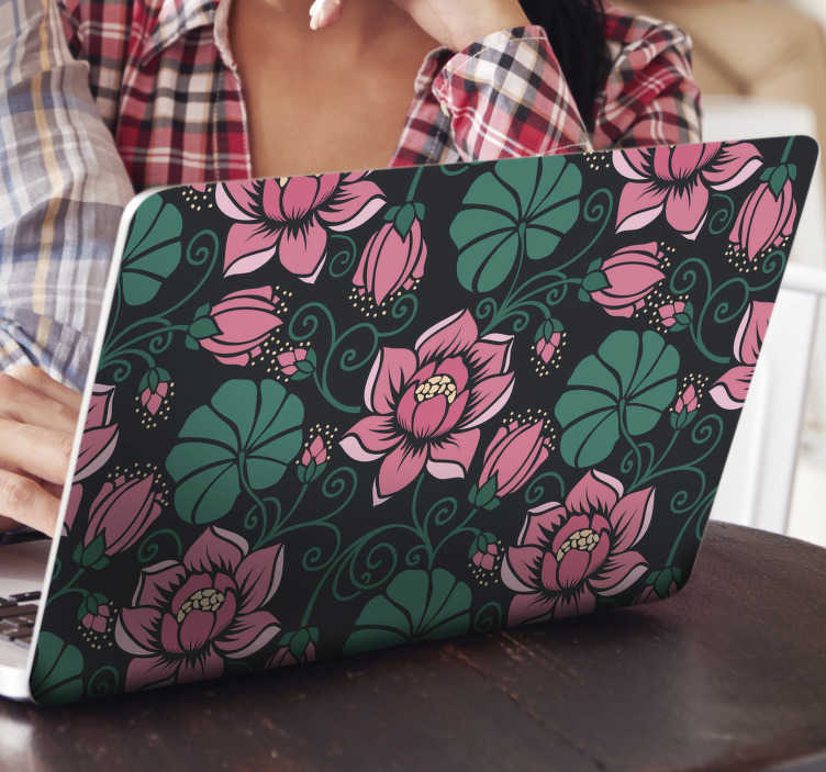 TenStickers. vintage floral pattern laptop skin. Decorative floral vintage patterned laptop skin wrap to decorate  laptop. Buy it in the size recommendable for the dimension of your surface.