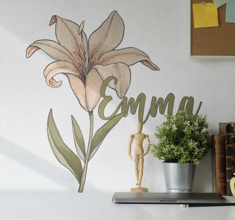 TenStickers. Beautiful botany flower Custom Sticker. Personalisable name flower wall art sticker to decorate any flat surface. Choose it in the size desirable and provide the name for the design.