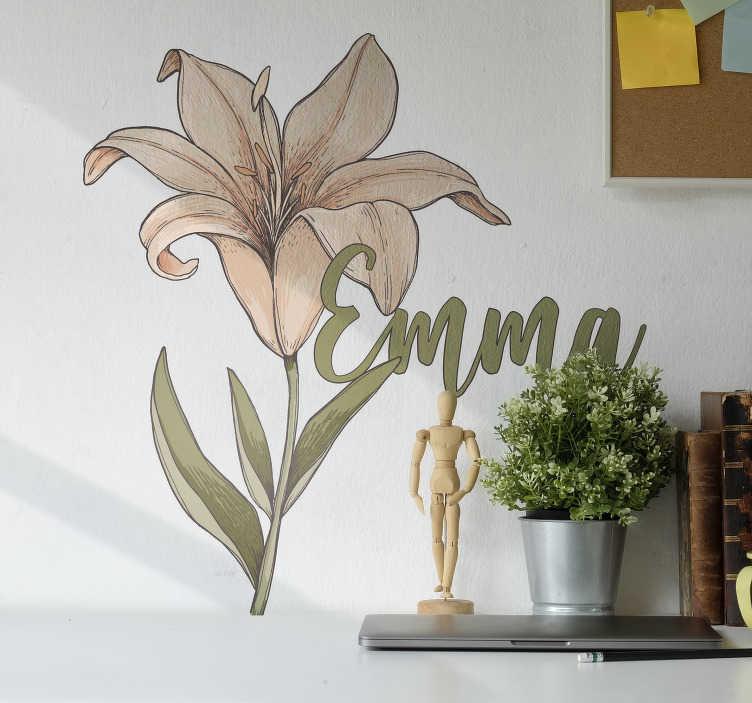 TenStickers. 아름다운 식물학 꽃 사용자 정의 스티커. 평평한 표면을 장식하는 개인화 가능한 이름 꽃 벽 예술 스티커. 원하는 크기로 선택하고 디자인의 이름을 제공하십시오.