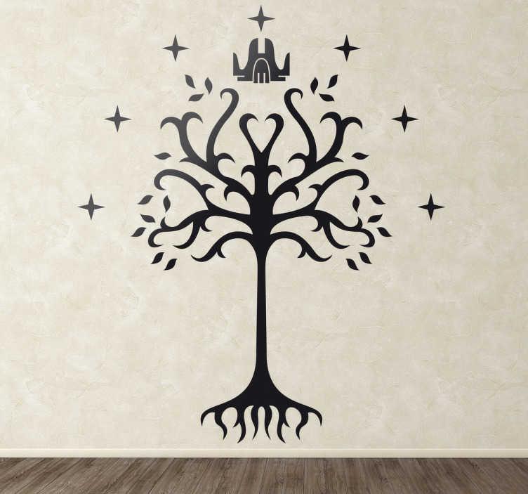 TenVinilo. Vinilo decorativo árbol de Gondor. Adhesivo del fantástico universo imaginario de J.R.R.Tolkien, el árbol Blanco de Minas Tirith. Es el símbolo de Gondor y de su bandera.
