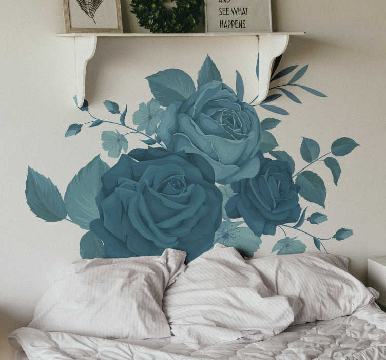 TenStickers. Blue bouquet flowers flower wall decor. Decorative vinyl sticker for home wall space with the design of  Blue bouquet flowers.Blue bouquet flowers. Easy to apply on flat surface.