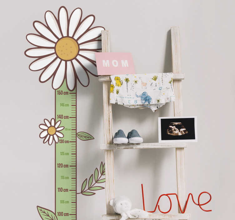 TenStickers. Daisy flowers height chart sticker. Meter height chart wall sticker to decorate the space of kids in the home . A well calibrated height chart in centimeters and daisy on it.