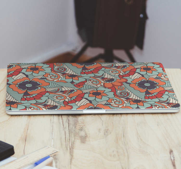 TenStickers. Floral paisley laptop skin. Decorative laptop vinyl sticker with the design of floral paisley. Buy it in the dimension that fit to your laptop. Easy to apply.