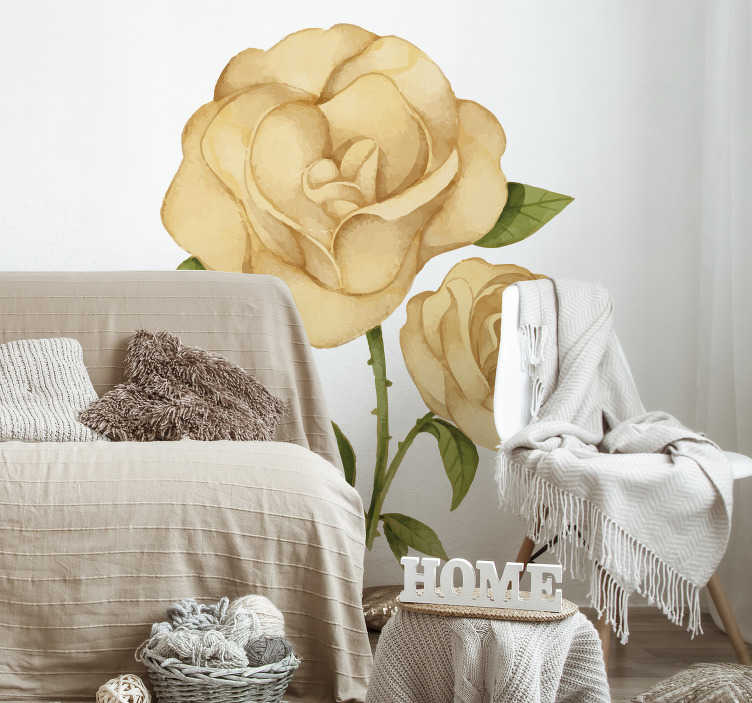 TenStickers. Golden rose flower wall decor. Decorative flower wall sticker to beautify any flat surface in the home . It is available in different size options to meet desired surfaces.