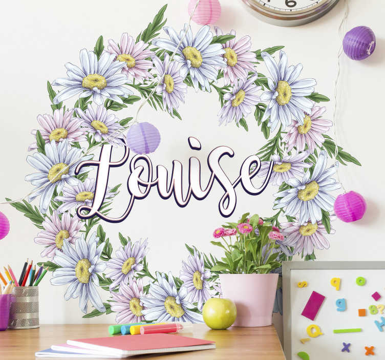 TenStickers. Personalized daisy crown Custom Sticker. Personalize a name on our daisy crown flower sticker to decorate the wall surface in the home. It is available in customizable  to fit any surface.