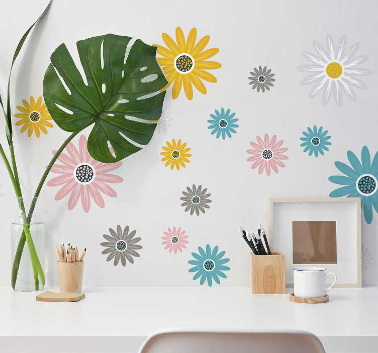 TenStickers. Set of colorful daisies flower wall decor. Buy our decorative vinyl sticker of set of daisies flower to beautify any flat wall surface. Buy it in the size preferable.