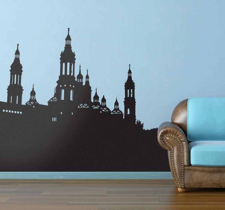 TenVinilo. Vinilo decorativo Basílica del Pilar. Adhesivo con la silueta de la Catedral de Nuestra Señora del Pilar de Zaragoza, famosa por su virgen.