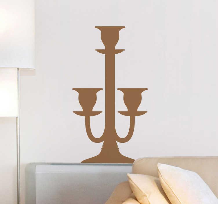 TenStickers. Sticker decorativo candelabro 9. Adesivo murale che raffigura un elegante portacandele di stile classico. Una decorazione ideale per il soggiorno o la camera da letto.