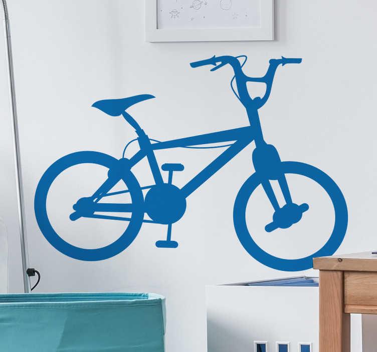 TenStickers. Sticker BMX fiets kinderen. Een leuke muursticker van een afbeelding van een BMX. Bepaal zelf de gewenste kleur en grootte voor deze wanddecoratie.