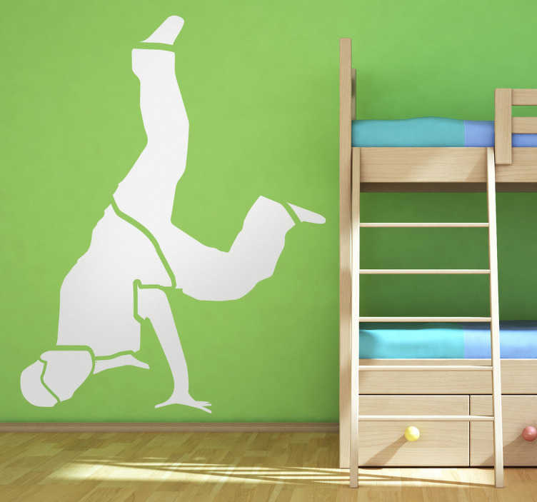 TenStickers. Break Dance Wall Sticker. Silhouette sticker of a dancer performing a famous break dance step, Top Rock.