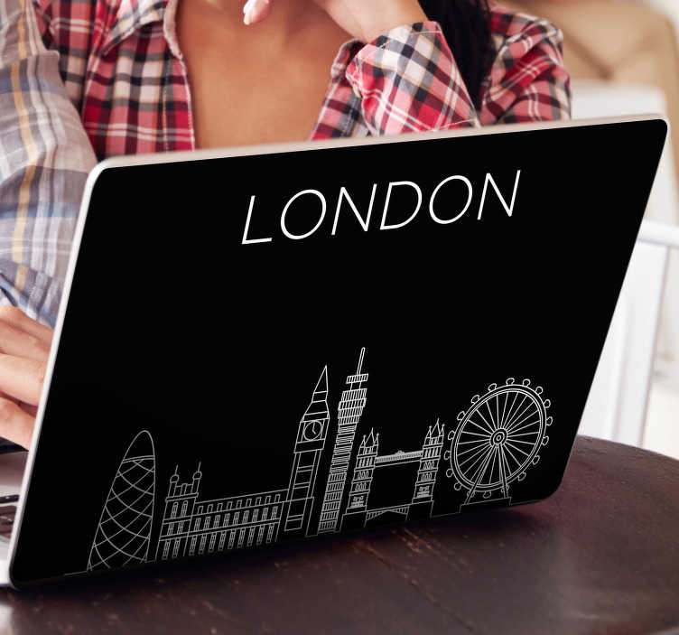 TenStickers. London on Laptop laptop skin decal. London city structure laptop vinyl sticker to decorate any laptop. Buy it in the size that is best for you. Easy to apply.