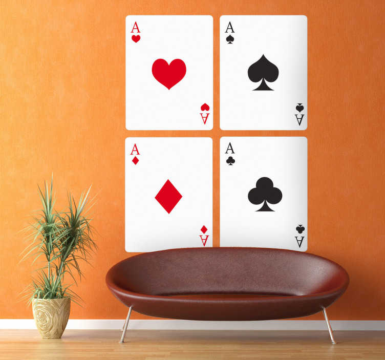 TenStickers. Playing Cards Wall Sticker. The playing cards decal is a great decorative design for any room. Can be used in room casino where card games are played.
