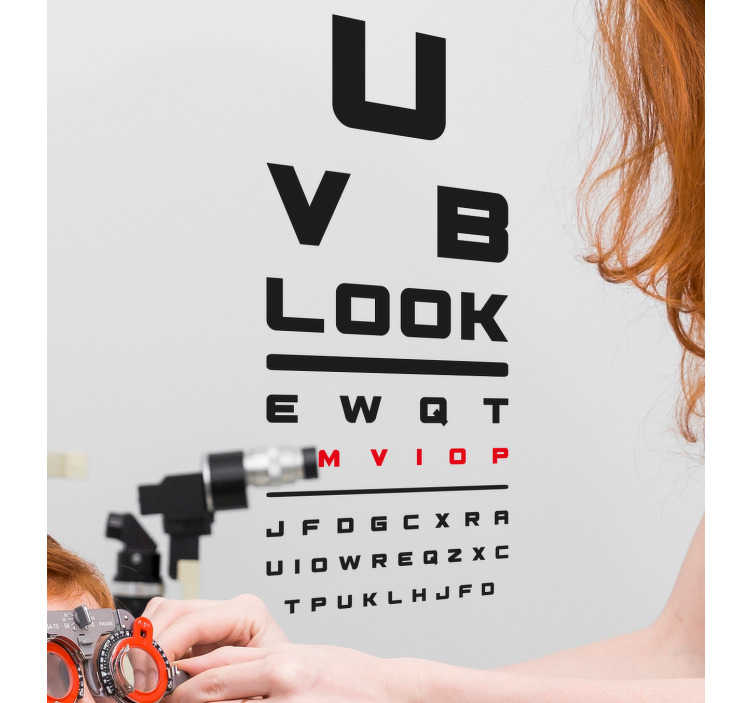 TenStickers. Ophthalmology test wall decal. Ophthalmology text wall sticker  for business spaces that sell optical devices. Buy it in any size that is ideal for any surface.