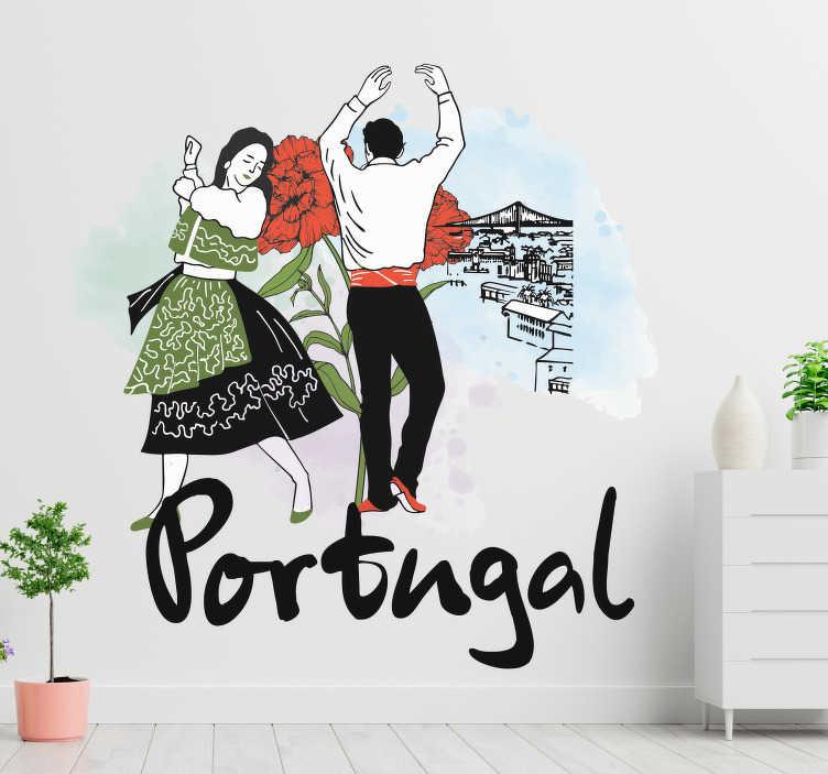TenStickers. Vinil decorativo de países Portugal em aquarela. Autocolante decorativo de países de Portugal projetado em estilo aquarela e traga as imagens que caracterizam a nossa cultura para a sua decoração.
