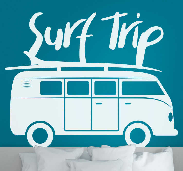 TenStickers. Surf Trip surf decal. Decorative wall art sport sticker with the design of a caravan and surfing board on it. It is available in different colours to choose from.