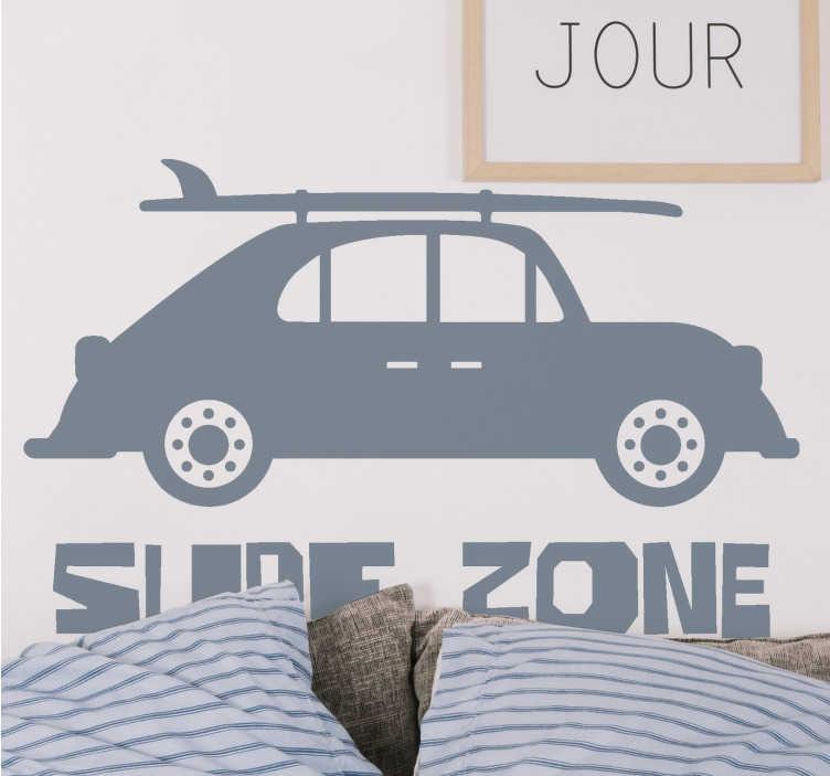 TenVinilo. Vinilo decorativo de frase zona de surf. Vinilo adhesivo con el diseño de un coche con una tabla de surf encima. Está disponible en 50 colores diferentes para elegir. Envío a domicilio