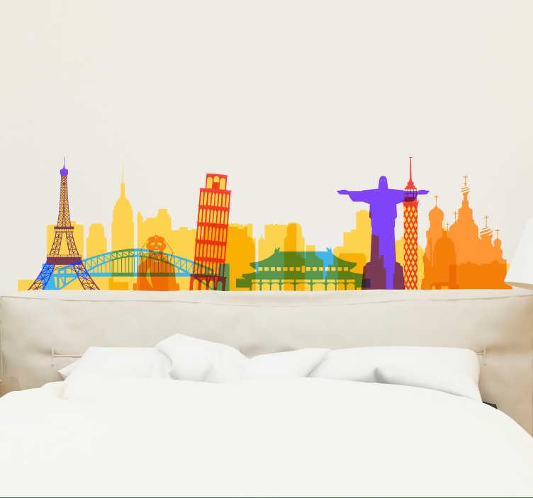 TenVinilo. Vinilo decorativo de monumentos color acuarela. Vinilo decorativo silueta horizonte de monumentos de ciudades disponible en variedades de color que puede elegir. Envío a domicilio