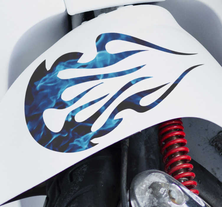 TenStickers. Blue tribal flame Motorcycle stickers. Tribal flame vinyl motorcycle sticker to decorate the body of a motorcycle to represent fierce. Buy it in the size  preferable for you.