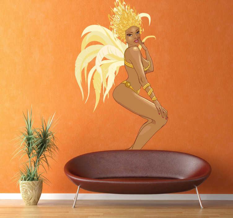 TenStickers. Wandtattoo brasilianischer Karneval. Gestalten Sie Ihre Räume mit diesem erotischen Wandtattoo einer brasilianischen Sambatänzerin, die sich in Ihrem aufregendem Kostüm bewegt.