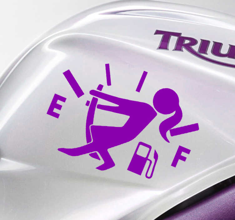 TenStickers. Empty fuel woman Motorcycle stickers. An iconic funny sticker of a woman with an empty fuel that can be applied on any vehicle surface. Buy it in the size that is best fitting.