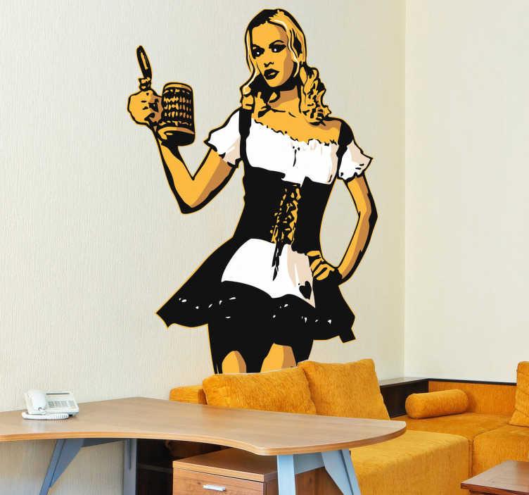 TENSTICKERS. 色ビール少女デカール. デカール-伝統的なドイツのドレスで冷たいビールパイントを提供する女性のイラスト。あなたの壁を飾るための楽しさとセクシーな機能。