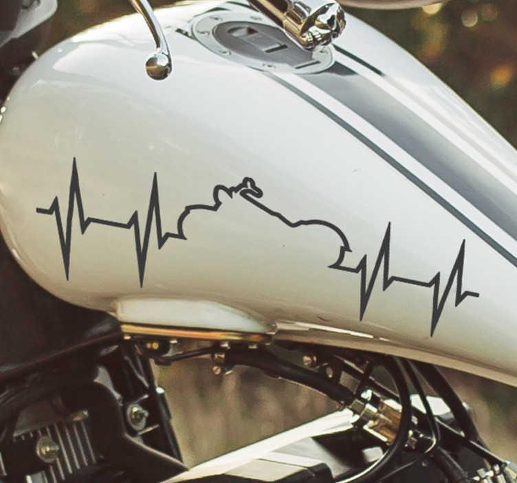 TenStickers. Heartbeat zelfklevende motorfietssticker. Koop onze decoratieve vinyl custom zelfklevende sticker van heartbeat trail verkrijgbaar in verschillende maten en kleuren. Gemakkelijk aan te brengen op elk vlak oppervlak.