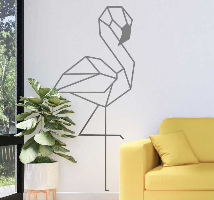 TenStickers. Adesivo murale fenicottero 3d per soggiorno. Disegno 3d di un autoadesivo di stickers murali del fenicottero per una decorazione del salone. Acquistalo nella dimensione e colore di scelta dall'elenco delle opzioni disponibili.