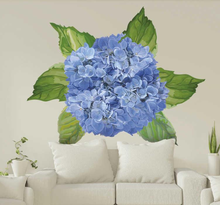 TenVinilo. Vinilo decorativo de flores azules. Vinilo decorativo para tu casa con el diseño de una flor increíble y de aspecto floreciente. Elígelo en el tamaño que desee ¡Envío a domicilio!