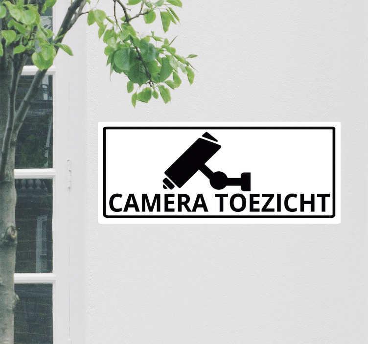 TenStickers. Camerabewaking basisteken zelfklevende sticker. Teken muursticker gemaakt op een vierkante achtergrond met een camera print. Koop het in de beste maat voor een gewenst oppervlak. Eenvoudig aan te brengen.