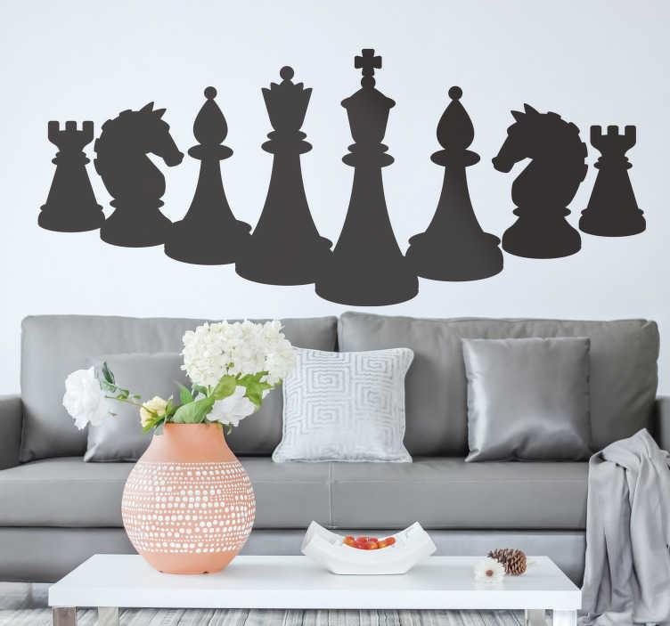 TenStickers. Schaken cijfers bordspel kunst aan de muursticker. Schaakfiguren bordspel zelfklevende sticker om elk vlak oppervlak te versieren. Het kan naar keuze worden georganiseerd. Verkrijgbaar in verschillende kleuren en maten.