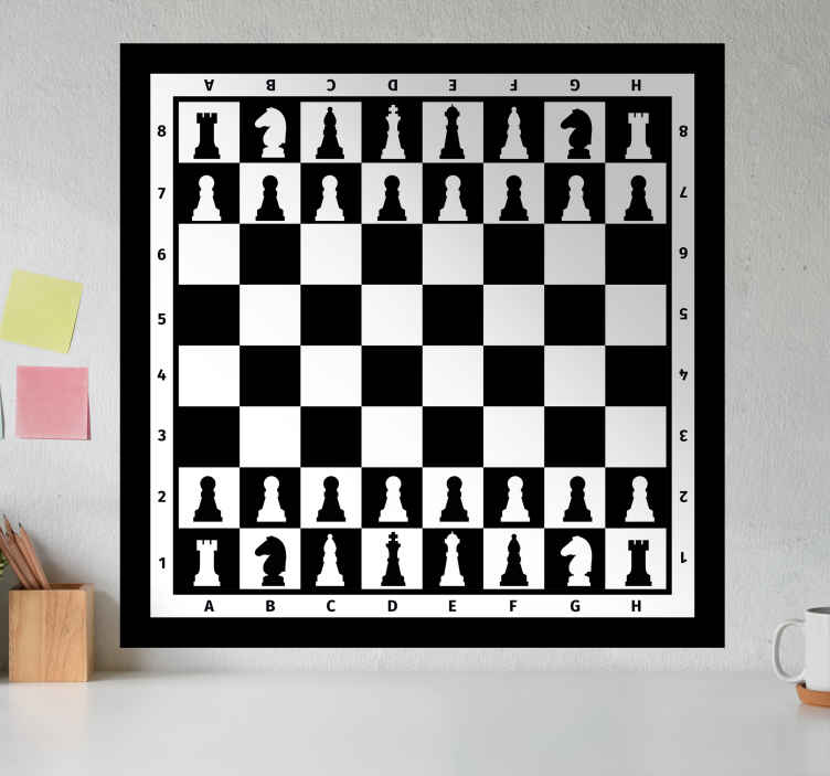 TenStickers. Chessboard board game wall art decal. Decorative chessboard game wall vinyl decal with complete features on it. Choose it in the best size option for a desired surface.