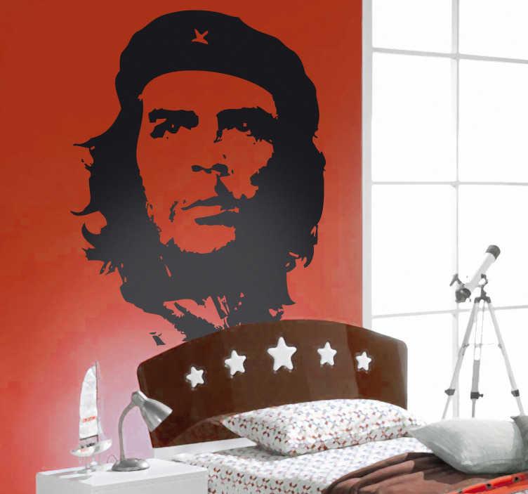TenStickers. Sticker decorativo Che Guevara. Adesivo murale che raffigura il famoso attivista argentino Ernesto Che Guevara che fu uno dei protagonisti chiave della rivoluzione cubana.